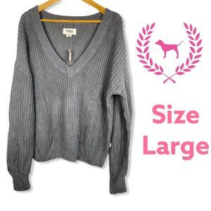 VS Pink Gray Cozy Oversized Knit Sweater Large
